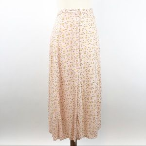 VTG 90's Button Front Pink Daisy Maxi Skirt, L